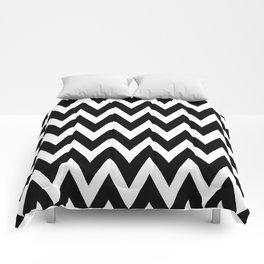 Modern black white geometrical chevron zigzag pattern Comforters