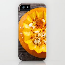 pumpkin-covered lid iPhone Case