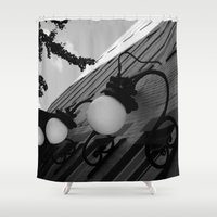 the lights Shower Curtains featuring Lights by 100 Watt Photography