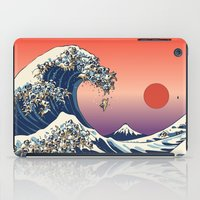 pug iPad Cases featuring The Great Wave of Pug   by Huebucket