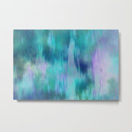 Teal & Purple Fusion Illustration, Digital Watercolor Camo Blend - Fluid Art Metal Print