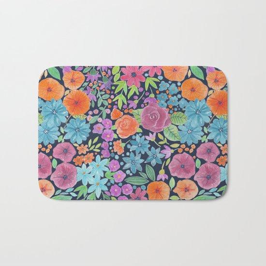 Floral watercolor pattern Bath Mat
