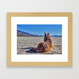 Cattle dog and landsailer Framed Art Print