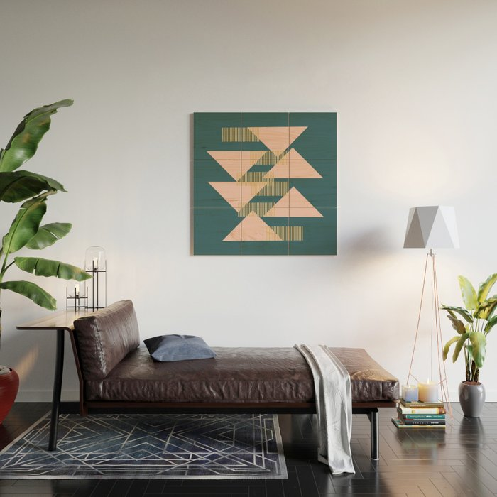 Modern Lines and Triangles Design in Blush, Teal, and Gold Wood Wall Art