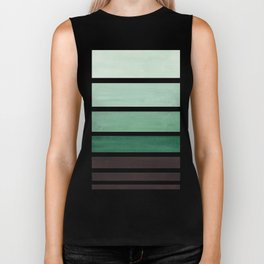 Deep Green Minimalist Watercolor Mid Century Staggered Stripes Rothko Color Block Geometric Art Biker Tank