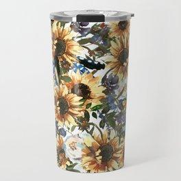 Charming Boho Watercolour Sunflowers Bouquet Travel Mug
