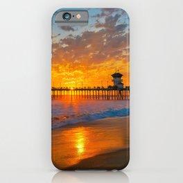 Painted Sky Over Huntington Beach Pier. iPhone Case