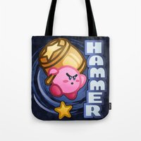 kirby Tote Bags featuring Kirby Hammer by likelikes