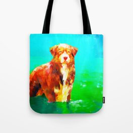 Dog in Water Tote Bag