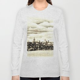 PANORAMA OF A GOTHIC CITY CHELMNO IN POLAND MADE IN FIGURATIVE STYLE Long Sleeve T-shirt