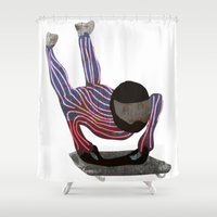 skeleton Shower Curtains featuring Skeleton by Louise Norman