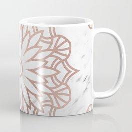 Marble mandala - floral rose gold on white Coffee Mug