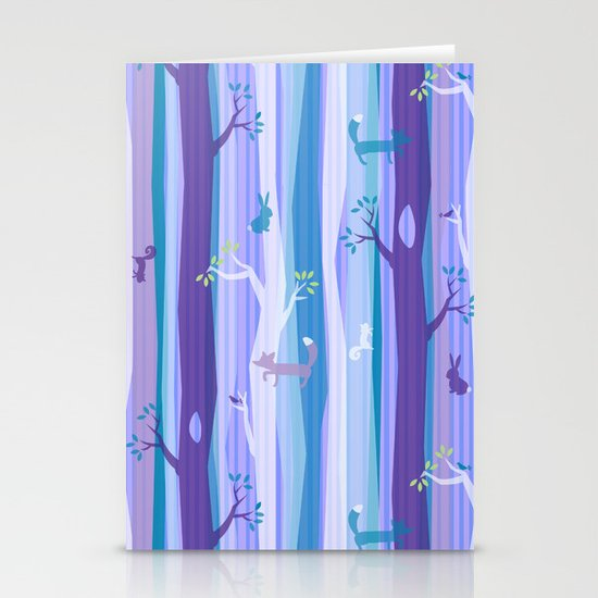 Purple Woodland Stripe Stationery Cards