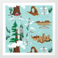 parks Art Prints featuring National Parks by Julie's Fabrics & Thingummies