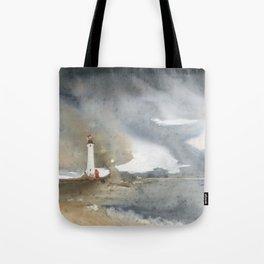 Storm over Crisp Point Lighthouse Tote Bag
