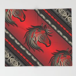 Horse Nation (Red) Throw Blanket