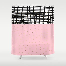 Modern geometrical black pink faux gold polka dots Shower Curtain