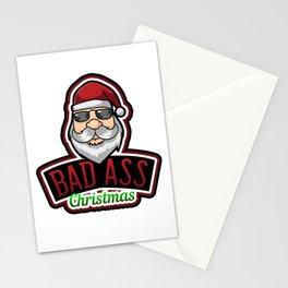 Bad Ass Santa Claus Christmas Holiday Xmas Design Stationery Cards