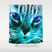 thundercats Shower Curtains featuring Lightining Cat by Augustinet
