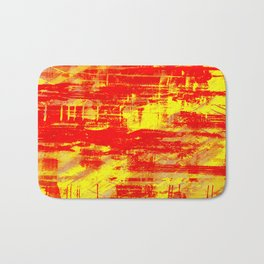 Sunburn - Abstract, yellow, red and orange, textured oil painting Bath Mat