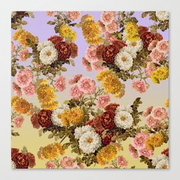 Chrysanthemum Floral Pattern on Lavender Purple Canvas Print