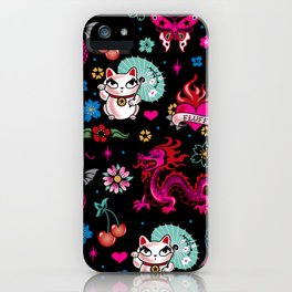 Lucky Cat Maneki Neko , Dragons and Koi fish iPhone Case