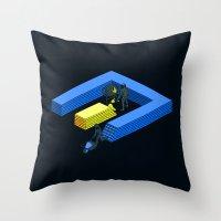 tron Throw Pillows featuring Tron Wall by Krzysztof Kaluszka