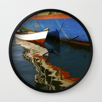water colour Wall Clocks featuring Water Colour by Danielle Jessamy