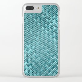 Elegant Teal Turquoise Wicker Basket Weave Pattern Clear iPhone Case