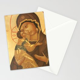 Orthodox Icon of Virgin Mary and Baby Jesus Stationery Cards