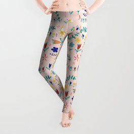 Floral The Tortoise and the Hare is one of Aesop Fables pink Leggings