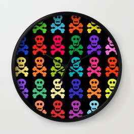 Colorful Pirate Skulls Wall Clock