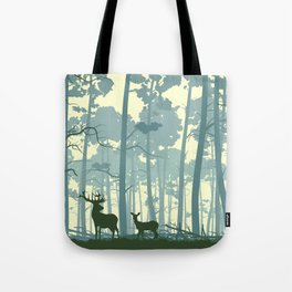 deer and deer in the forest Tote Bag