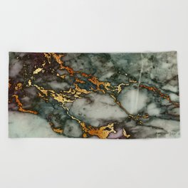Gray Green Marble Glitter Gold Metallic Foil Style Beach Towel