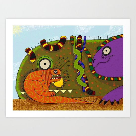Iguanas and Snakes Art Print