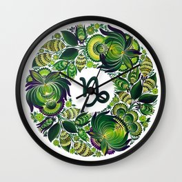 Capricorn in Petrykivka (without artist's signature/date) Wall Clock