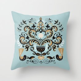 Scandinavian Winter Celebration With Birds Throw Pillow