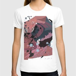 A mess of me: an abstract mixed media piece in muted pinks, blues, and black T-shirt