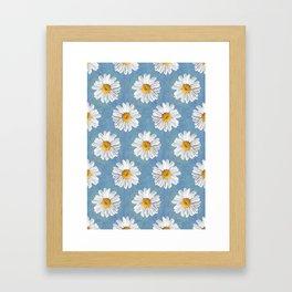 Daisy Blues - Daisy Pattern on Cornflower Blue Framed Art Print
