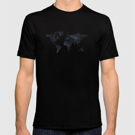 World Map in Black and White Ink on Paper T-shirt