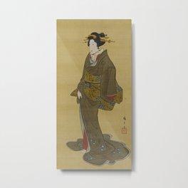 Japanese Geisha from Edo (Tokyo) Metal Print