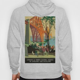 Scottish Railway Travel Poster, The Forth Bridge, East Coast Route Hoody