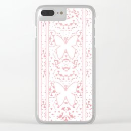 Delicate White Stripe Butterfly Pattern Pink Texure Design Clear iPhone Case