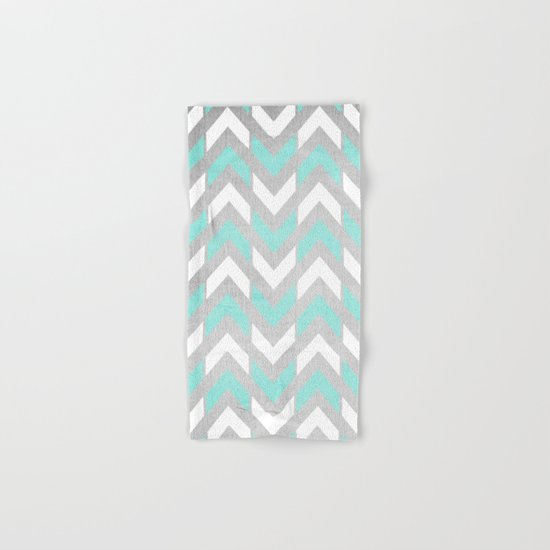 Teal & White Herringbone Chevron on Silver Wood Hand & Bath Towel