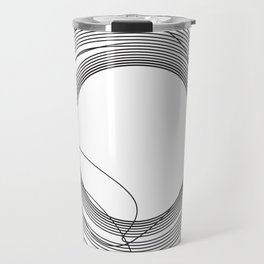 Tangled Monochromatic Black Circles on White Travel Mug