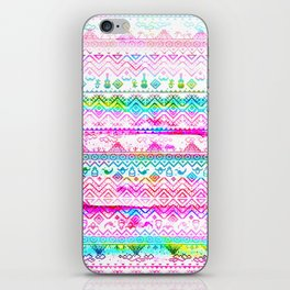 bohemian pattern in pink and turqupise soft colors iPhone Skin