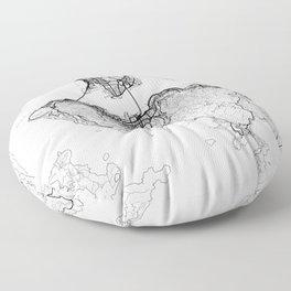 Hong Kong Map White Floor Pillow
