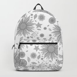 Beautiful Flowers in Faded Gray Black and White Vintage Floral Design Backpack