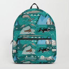 Arctic animals teal Backpack