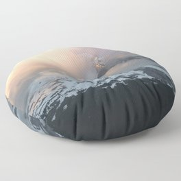 Pink Fog Mountain Morning Floor Pillow